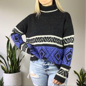 Vintage 90s wool geometric Tribal  knit sweater m